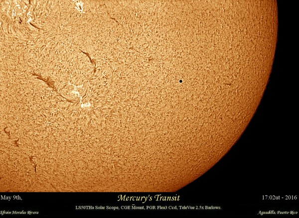 View larger.   Mercury transit with a Hydrogen-Alpha telescope, by Efrain Morales / Sociedad de Astronomia del Caribe. Thanks also to Eddie Irizarry for submitting!