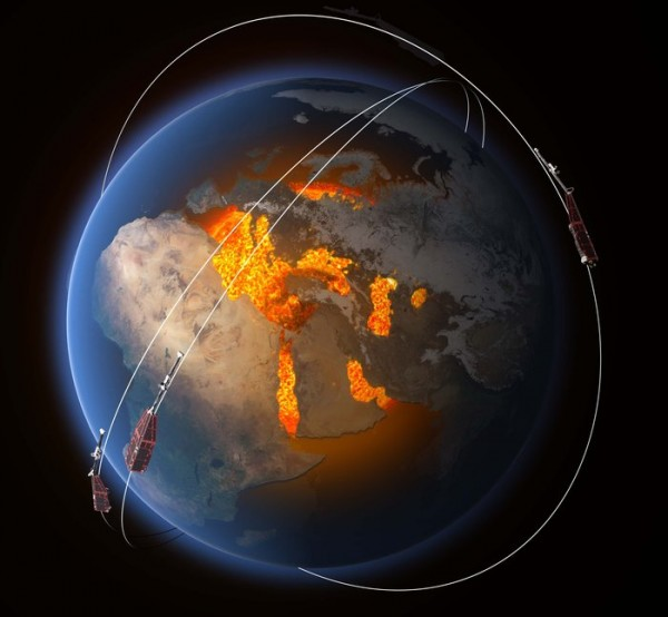 The magnetic field is thought to be largely generated by an ocean of superheated, swirling liquid iron that makes up Earth's the outer core 3000 km under our feet. Acting like the spinning conductor in a bicycle dynamo, it generates electrical currents and thus the continuously changing electromagnetic field. Other sources of magnetism come from minerals in Earth's mantle and crust, while the ionosphere, magnetosphere and oceans also play a role. ESA's constellation of three Swarm satellites is designed to identify and measure precisely these different magnetic signals. This will lead to new insight into many natural processes, from those occurring deep inside the planet, to weather in space caused by solar activity.