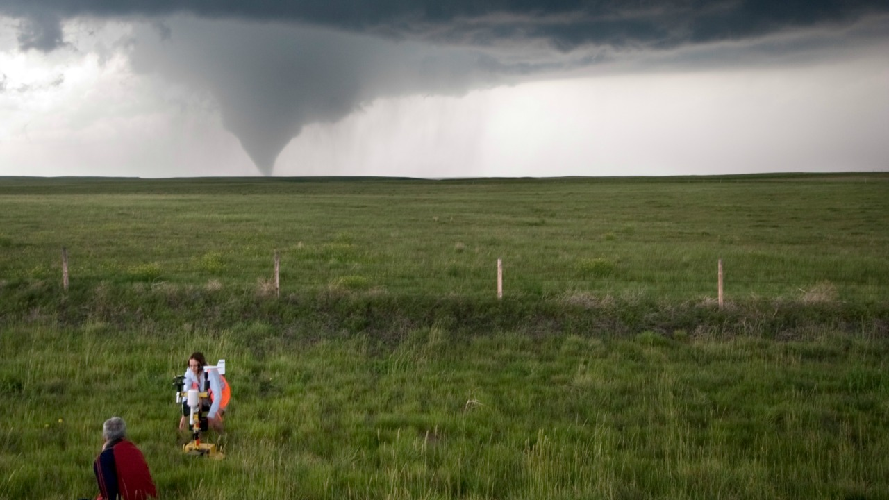 Don't try this at home: Researchers study tornadoes from a safe distance. Photo credit: Josh Wurman, CSWR