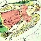 Classical illustration of the constellation Virgo the Maiden, via constellationsofwords.com