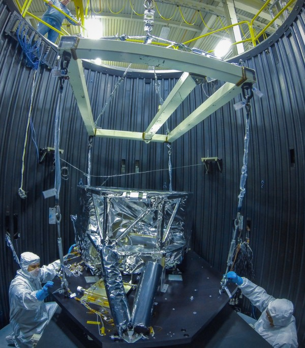Technicians continue to work on the Webb telescope's instrumentation in advance of its launch in 2018. Photo credit: NASA/Chris Gunn