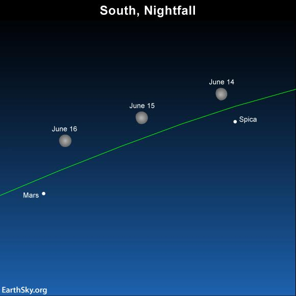 After tonight, watch for the waxing gibbous moon to move away from the star Spica and move closer to the brilliant planet Mars.