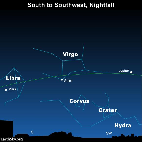 You can find the blue-white star Spica in between evening's two brightest