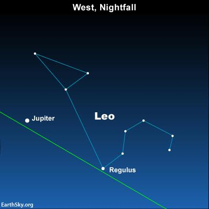 Look westward at nightfall for the dazzling planet Jupiter, and for the star Regulus, the brightest star in the constellation Leo the Lion.