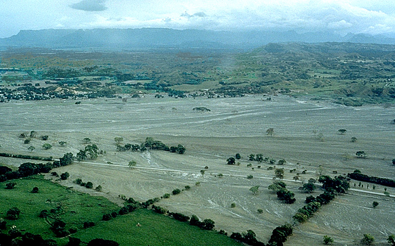 The city of Armero after the destructive lahar from the Volcan del Ruiz in November 1985 via Marso/USGS