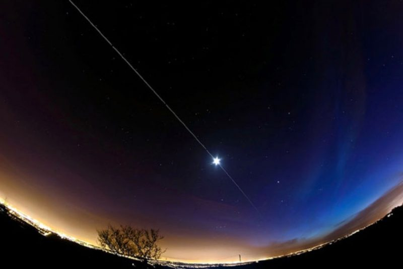 A composite photograph of an International Space Station flyover, taken from the U.K. Image via Dave Walker.