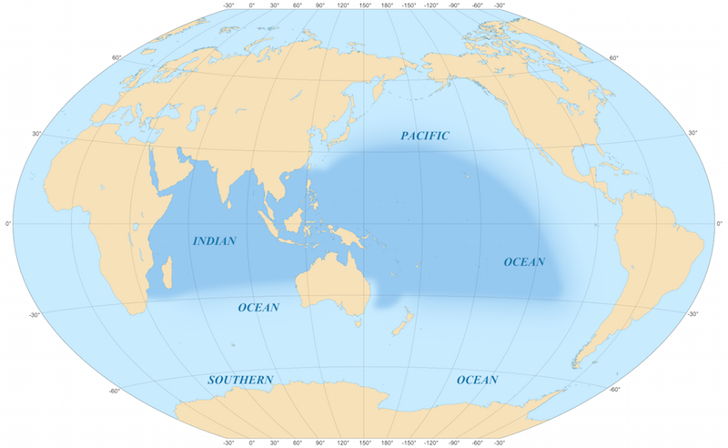 The Indo-Pacific region. Image credit: Eric Gaba via Wikimedia commons.