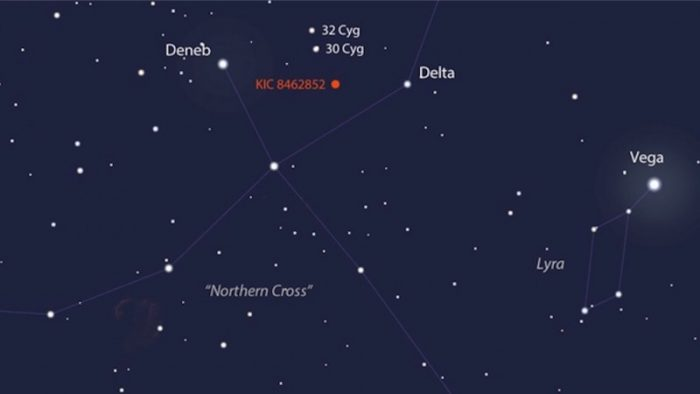 Finder chart for KIC 8462852. It's located in the direction to the constellation Cygnus, which is part of the famous Summer Triangle asterism, visible at this time of year.