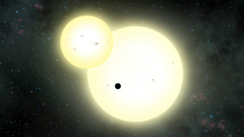 Artist's impression of the simultaneous stellar eclipse and planetary transit events on Kepler-1647. Such a double eclipse event is known as a syzygy. Image via Lynette Cook