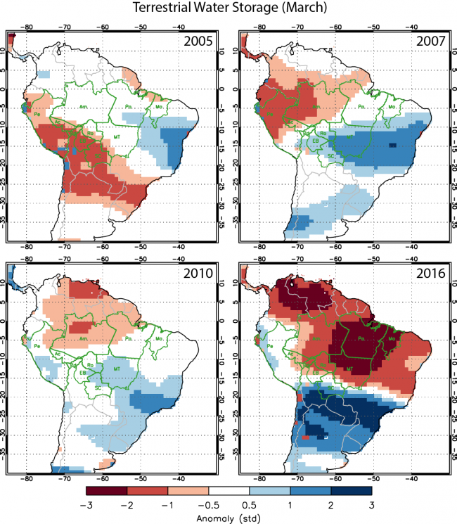 An analysis of data from the Gravity Recovery and Climate Experiment (GRACE) satellite mission shows greater soil water deficits in 2016 than previous drought years with high Amazon fire activity. Credits: Yang Chen, University of California, Irvine / NASA