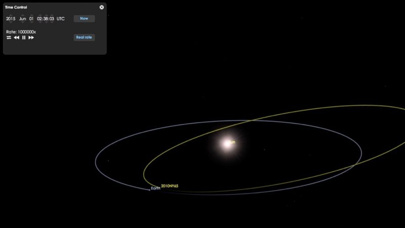 Still from a video by the Goldstone Radar Observing team, showing the tracks of Earth and asteroid 2010 NY65, one of the targets in Las Cumbres' Asteroid Day observing program.