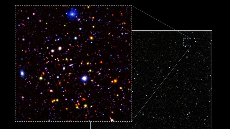 An image of a small section (0.4%) of the Ultra-Deep Survey field. Most of the objects in the image are very distant galaxies. Image via University of Nottingham.