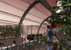 Artist's concept of a greenhouse on the surface of Mars via SAIC/ NASA.
