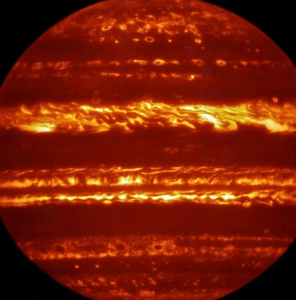 False-color infrared image of Jupiter, created by selecting and combining the best images obtained from many short exposures. Image via ESO
