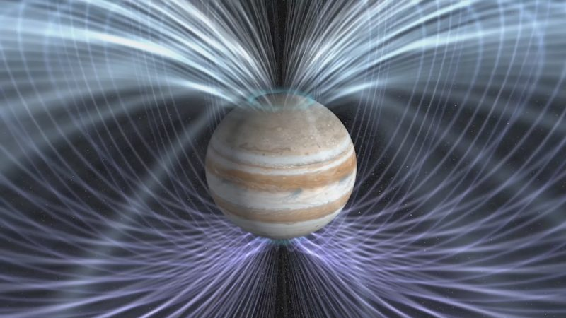 Scientists will use the twin magnetometers aboard NASA's Juno spacecraft to gain a better understanding about how Jupiter's magnetic field is generated. Image via NASA Goddard Space Flight Center