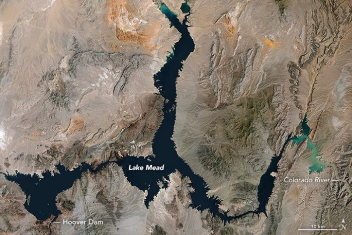 Landsat image of Lake Mead, acquired 1984, when the lake was most full.