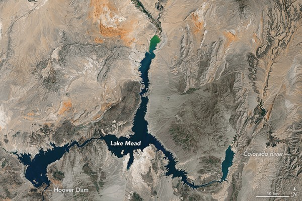 Landsat image of Lake Mead, acquired 2016, when the lake reached a record low.
