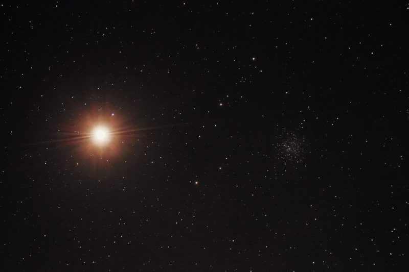 Mars and globular star cluster NGC 5897, by Kurt Zeppetello.