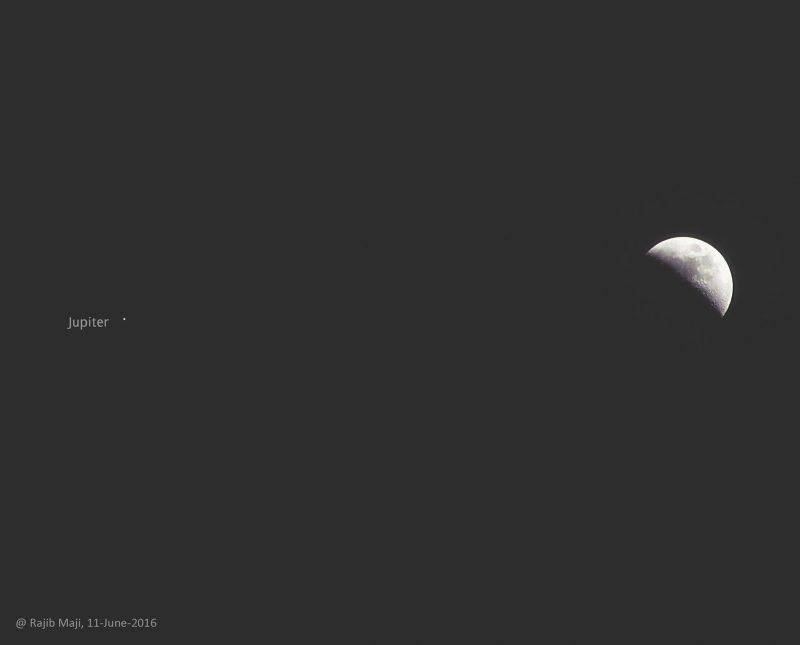 Rajib Maji in India caught this photo of the moon and Jupiter on June 11.