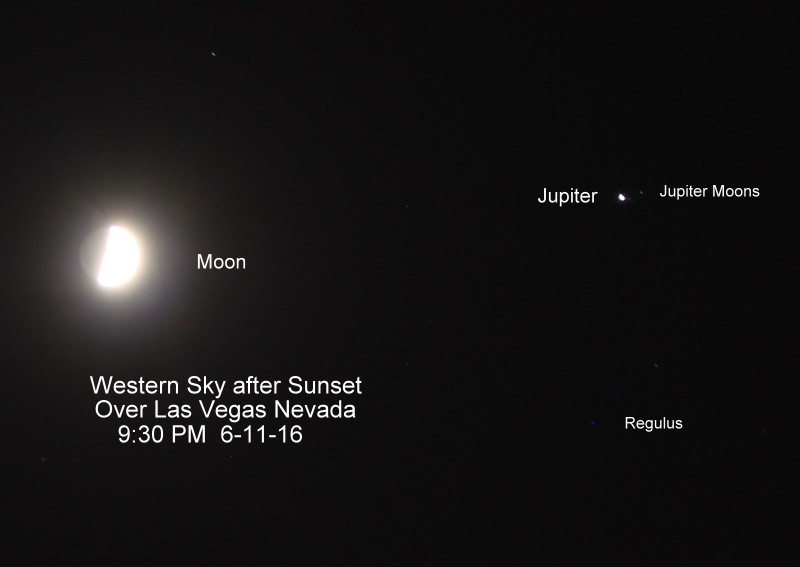 Robert Kelly caught the moon and Jupiter on June 11 over Las Vegas, Nevada.