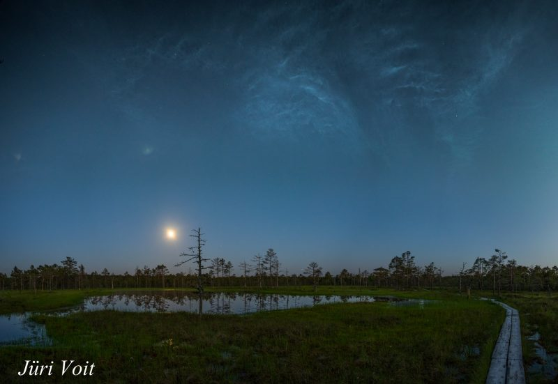 This is cool. ??Jüri Voit in Estonia caught the rising moon on June 19 among notilucent clouds, aka night-shining clouds. Northern Europe got a great display of them this past weekend.