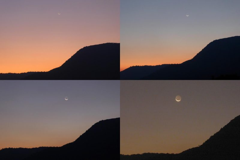 Peter Lowenstein, a frequent contributor to EarthSky, caught these images of the waxing crescent moon over Mutare, Zimbabwe on June 6, 2016. He wrote: