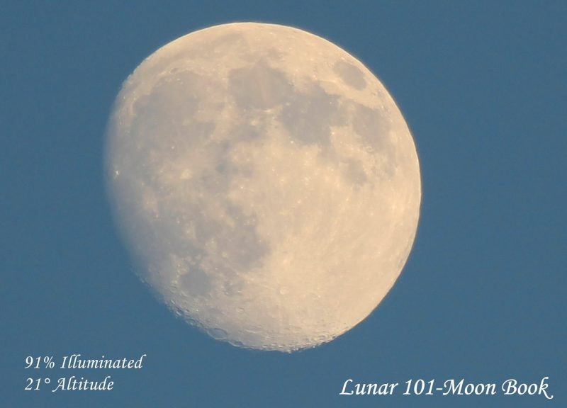 A waxing gibbous moon can be seen in a blue daytime sky, in late afternoon. July 16 moon via Lunar 101 Moon Book.