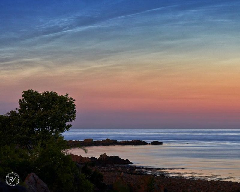 Rocky seashore with trees, sunset clouds, noctilucent clouds above.