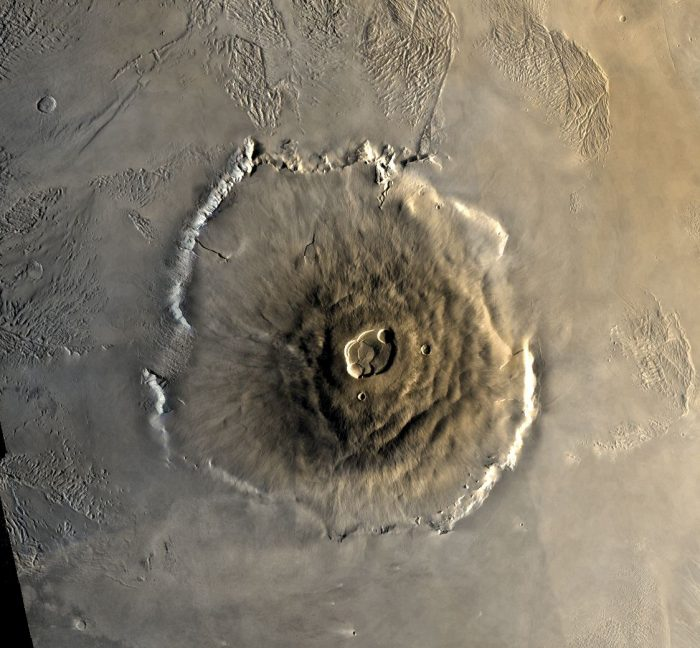 Mars' Olympus Mons, largest volcano in our solar system. Did the Nakhla meteorite come from here? Image via NASA