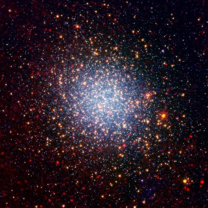 Sphere of multicolored stars, less dense toward edges.