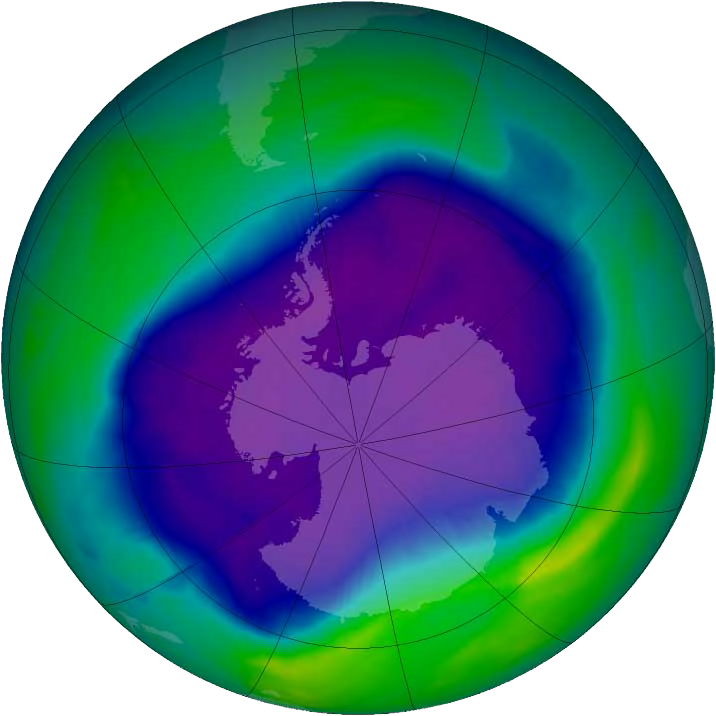 The largest ozone hole ever recorded, in 2006, via NASA.
