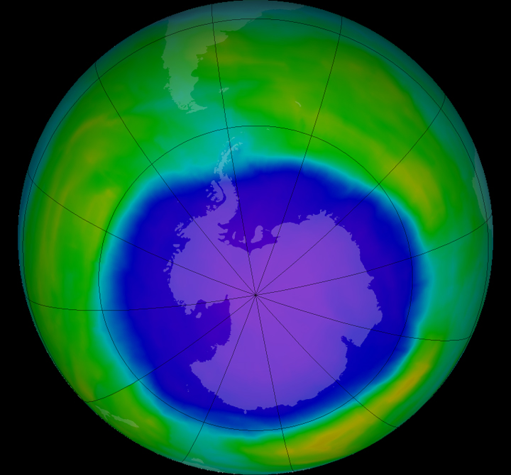 The ozone hole grew relatively large in 2015, too. The ozone hole over Antarctica grew relatively large in 2015, according to data acquired by the Ozone Monitoring Instrument (OMI) on NASA's Aura satellite and the Ozone Monitoring and Profiler Suite (OMPS) on the NASA-NOAA Suomi NPP satellite. On October 2, 2015, OMI observed that the hole had reached its largest single-day area for the year. Via NASA.