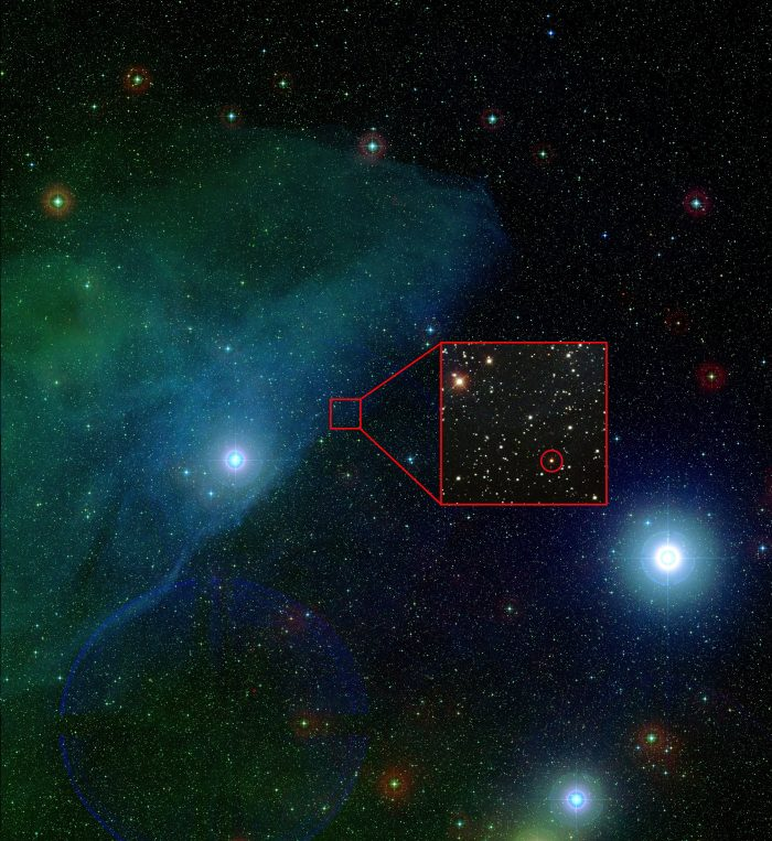 Digitized Sky Survey (DSS) image of the 11 million year old Upper Scorpius Star forming region. The two bright stars are Nu Scorpii (left) and Beta Scorpii (right), both likely members of Upper Scorpius. The cloudy region around Nu Scorpii is a reflection nebula; residual dust from recent star formation as well as interstellar dust is reflecting light from the bright star. A zoom-in inset is shown around the K2-33b, with the planet host circled in red. Large color image constructed from Digitized Sky Survey (DSS) images, inset constructed using data from the Sloan Digital Sky Survey (SDSS). (A. Mann/McDonald Obs/DSS/SDSS)