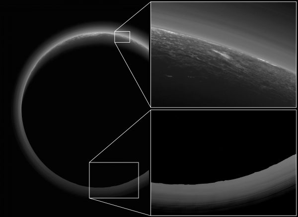 View larger. | The inset shows a possible cloud in Pluto's tenuous atmosphere. Image via NASA/ Johns Hopkins/ SWRI.