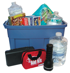 Plastic bin with bottled water, first aid kit, trail mix, matches, flashlight.