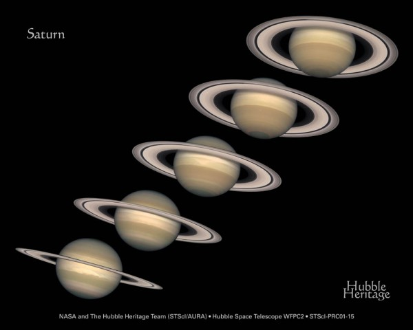 5 views of Saturn with rings at different angles showing lots of surface to almost a line.