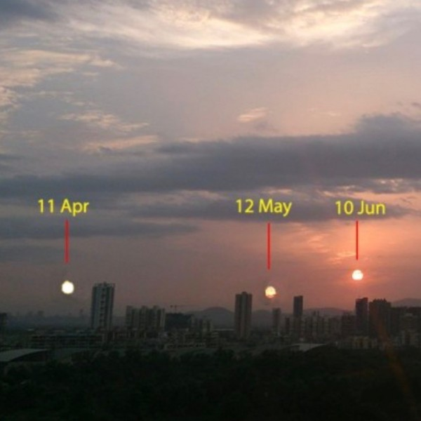 New York skyline with three sun positions marked in the sky.