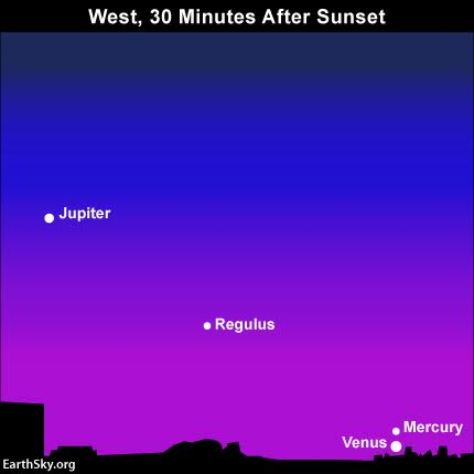 By mid-July, you should be able to spot Mercury and Venus with the eye. If you can't see Mercury, try sweeping with binoculars near Venus. These 2 worlds have a conjunction on July 16. Read more.