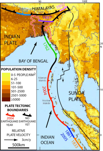 Bangladesh, Myanmar and eastern India (all near top) are bisected by an extension of the tectonic boundary that ruptured under the Indian Ocean in 2004, killing some 230,000 people. Known quakes along the boundary's southern end are shown in different colors; the black sections nearer the top have not ruptured in historic times, but new research suggests they could.  Image via Michael Steckler/ Lamont-Doherty Earth Observatory.