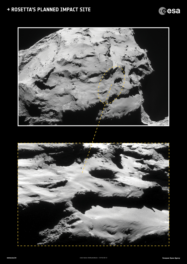 Rosetta is destined to make a controlled impact into the Ma'at region of Comet 67P/Churyumov–Gerasimenko on 30 September 2016, targeting a point within a 700 × 500 m ellipse (a very approximate outline is marked on the image).  Image via ESA.