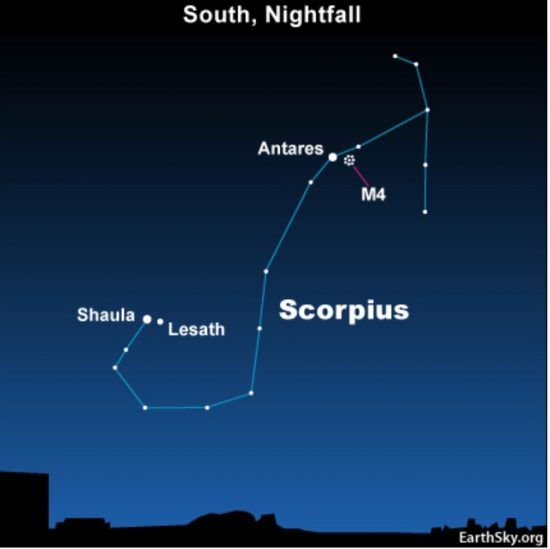 Star chart of hook-shaped constellation Scorpius with Antares and cluster M4 marked.