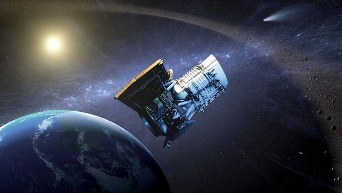 Artist's concept of The Wide-field Infrared Survey Explorer (WISE) spacecraft. Image via NASA/JPL-Caltech; Dunlop Institute.