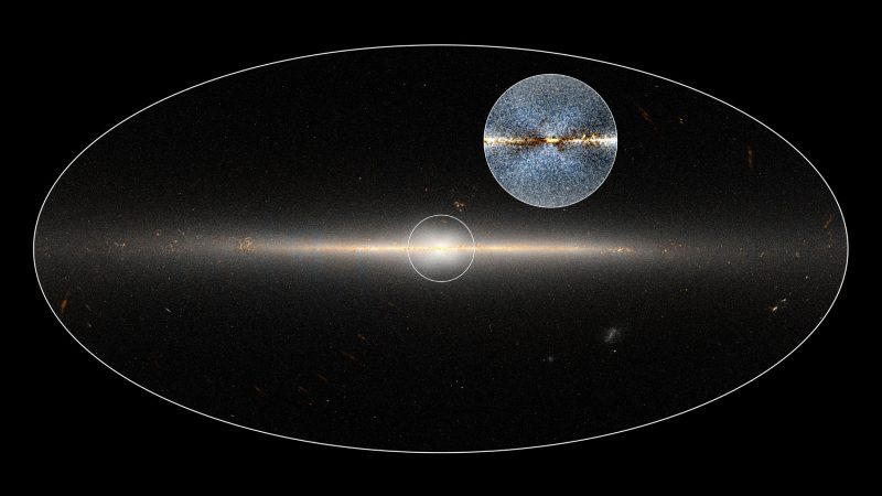 WISE all-sky image of Milky Way galaxy. The circle is centered on the galaxy's central region. The inset shows an enhanced version of the same region that shows a clearer view of the X-shaped structure. Image via NASA/JPL-Caltech; D. Lang/Dunlap Institute.