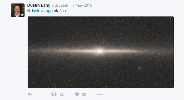 """One of the original tweets showing the WISE map of the Milky Way Galaxy. The """"X"""" is visible in the centre of the image. Credit: D. Lang; Dunlap Institute"""