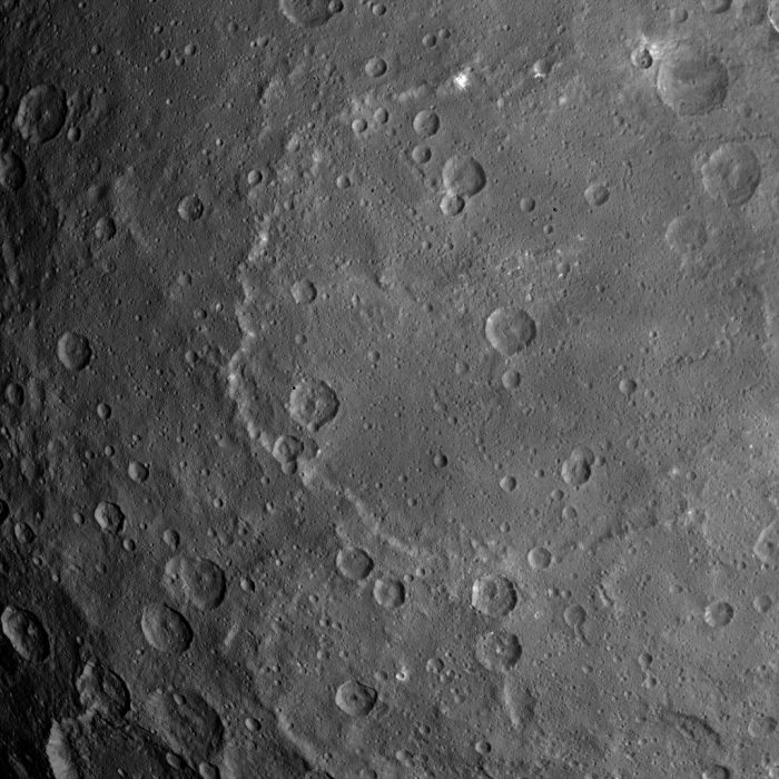 This image, taken by NASA's Dawn spacecraft, shows dwarf planet Ceres from an altitude of 2,700 miles (4,400 kilometers). The image, with a resolution of 1,400 feet (410 meters) per pixel, was taken on June 25, 2015. Via NASA