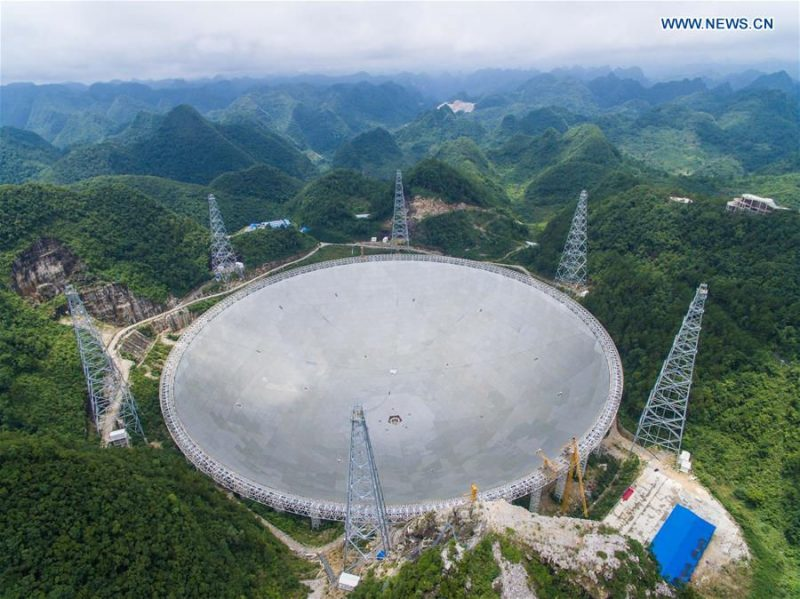 Aerial photo taken July 3, 2016 of the newly completed Five-hundred-meter Aperture Spherical Telescope (FAST) in southwest China. Image via Xinhua/Liu Xu.