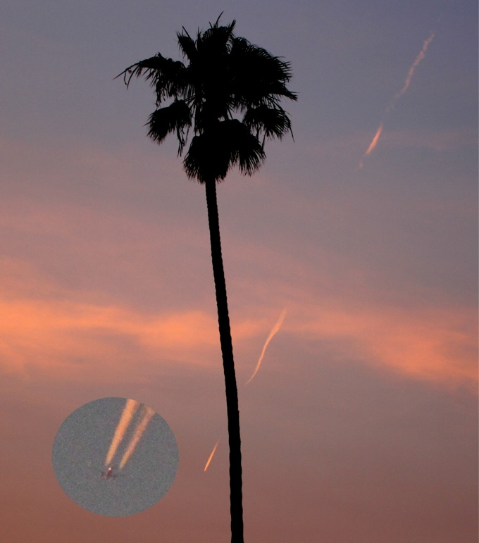 Especially when they're seen in the west around sunset, jet contrails can look like falling objects. Image via Contrail Science.
