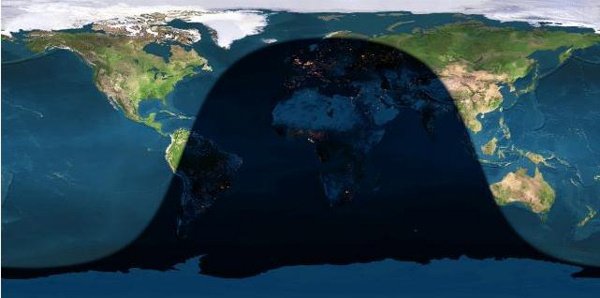 The day and night sides of Earth at the instant of the July full moon (2016 July 19 at 22;57 Universal Time). Note that there is now 24 hours of daylight in the northern reaches of the world, and 24 hours of night in the Antarctic.