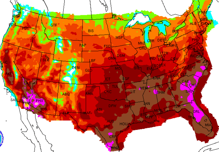 A 'heat dome' arrives in the U.S. Image via NOAA Forecast Daily Maximum Heat Index.