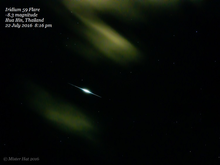 Vince Babkirk captured this flare from an iridium satellite on July 22, 2016. He wrote:
